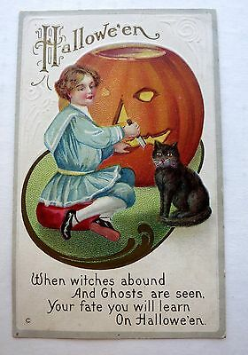 1920s  Halloween Postcard Girl Carving Pumpkin w/ Black Cat - Black Cat Halloween Pumpkin Carving