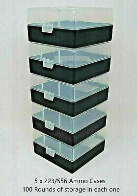 BERRY'S PLASTIC AMMO BOXES (5) CLEAR-BLACK 100 ROUND 223 / 5.56 NEW ITEM - Berry Boxes