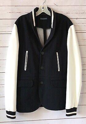 ZARA MAN Size XL Black White Letterman Knit Blazer Jacket Casual