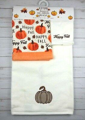 (Bath Hand Fingertip Towel Set 3 Pc Fall Pumpkins Thanksgiving Ivory)