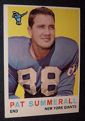 1959 Topps #41 Pat Summerall New York Giants  VG+  Football Card Off Center Nice