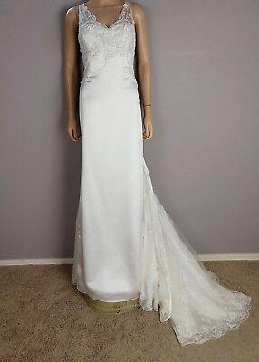 Beaded Satin Wedding Dress (NEW Blue By Enzoani Beaded Appliqué Wedding Dress 14 Fitted GARDOT Train Satin )