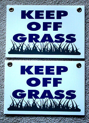 2 Keep Off Grass 8x12 Plastic Coroplast Signs With Grommets New