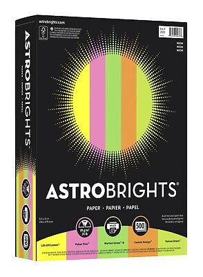 Astrobrights Colored Paper 8-12 X 11 Inches Assorted Neon Pack Of 500