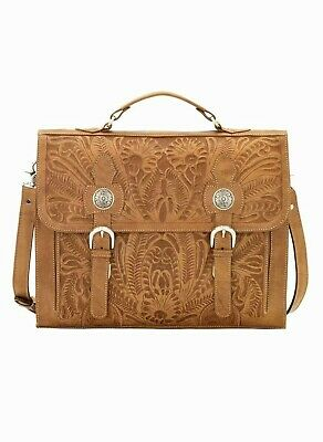 American West Stagecoach Tooled Leather Multi-Compartment Laptop Briefcase American West Leather Briefcase