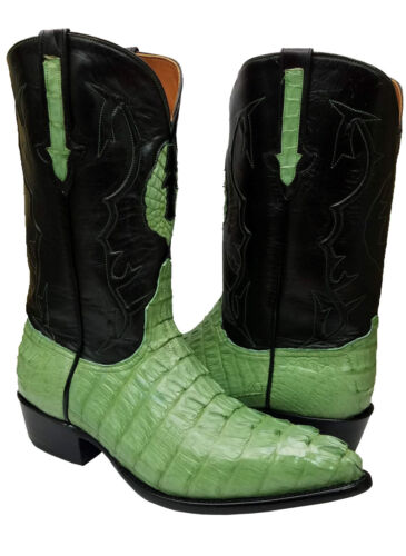 Mens, Green, Crocodile, Tail, Exotic, Skin, Leather, Dress, Cowboy, Boots, J, Toe, Size, 10.5
