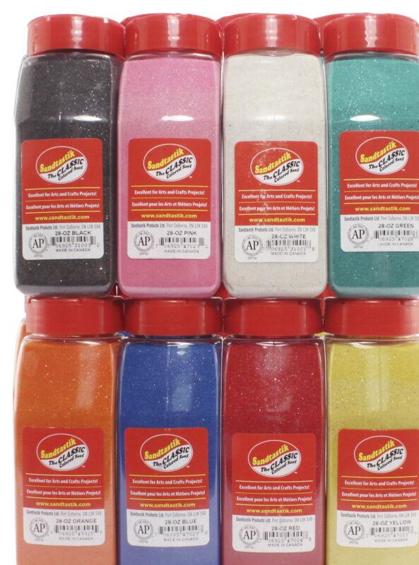 Sandtastik Rainbow Colored Sand, 28 Ounce Bottles, Assorted Colors, Set of 8