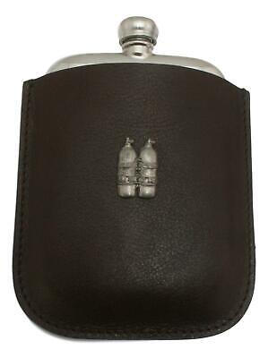 Air Tanks Pewter 4oz Kidney Hip Flask In Leather Pouch FREE ENGRAVING
