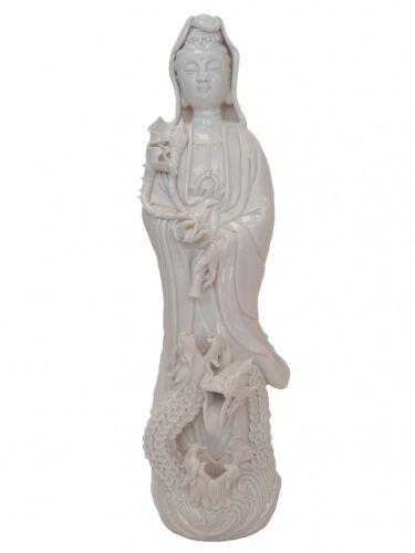 """14"""" White Standing Guan Yin Kwan Yin Quan Yin w/ Dragon Statue"""