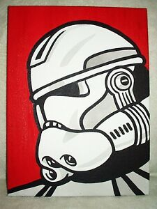 itm Peinture sur toile Star wars clone commander rouge pop art x pouces acrylique