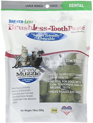 (Gray Muzzle Breath-Less Brushless Toothpaste Chewables for Large Dogs, 7.8 oz)