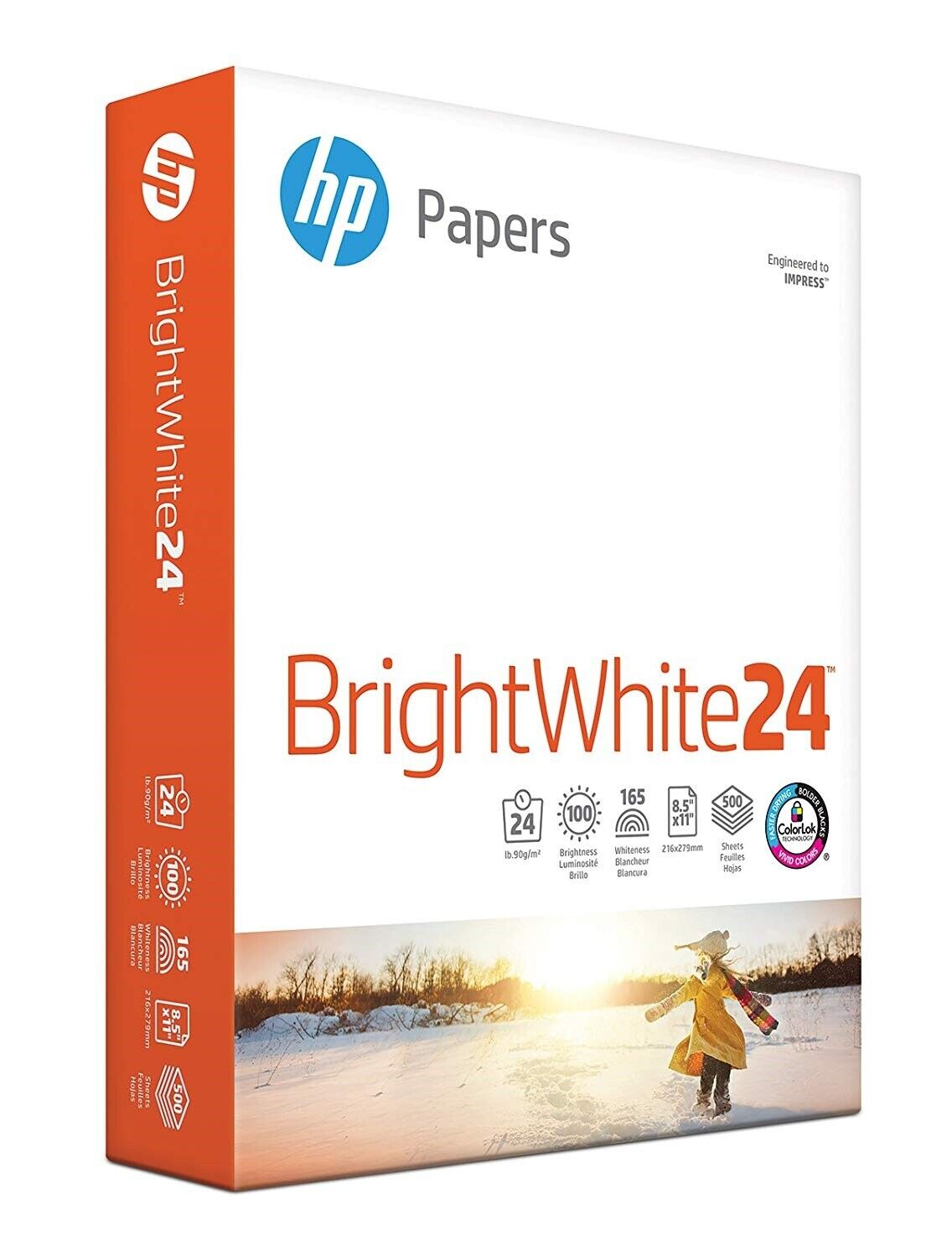 HP Printer Paper BrightWhite24 8.5 x 11 Letter 24lb 97 Brigh