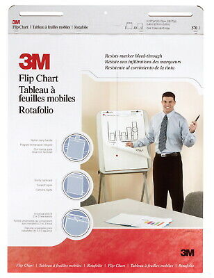 3m Unruled Flip Chart With Bleed-resistant Paper 25 X 30 Inches White 40