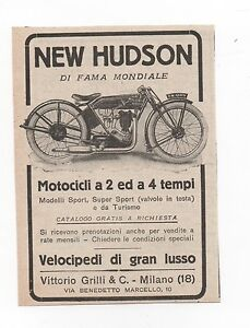 Pubblicita-1923-MOTO-NEW-HUDSON-SPORT-MOTOR-old-advert-werbung-publicite-reklame