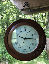 "Station Clock Double Sided 15"" Analog Wood 2 Time Zones with a Seconds Hand"