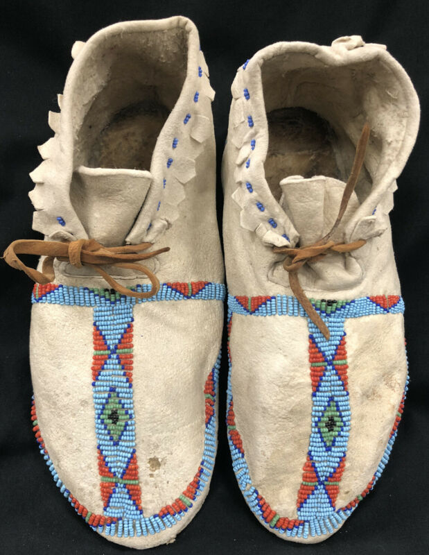 Antique Cheyenne Beaded Moccasins Circa 1880's Native American Indian