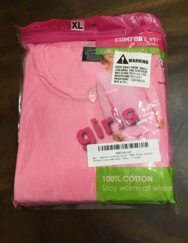 girls 100 percent cotton waffle thermal long