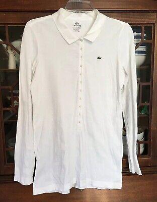 Lacoste Womens EU Size 42 US 10 White Cotton Slim Fit Long Sleeve Polo Shirt Top