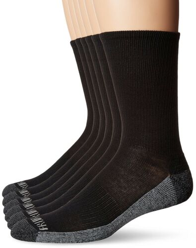 Fruit of the Loom Mens Crew 6 Pack Black Shoe Size 6-12Sock
