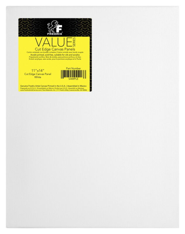 Fredrix Value Series Cut Edge Canvas Panel, 11 x 14 Inches, White, Pack of 25
