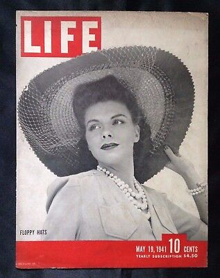 1941 Vintage Life Magazine Millinery Cover & Article ~ Floppy Hats ~ '41 Nash Ad
