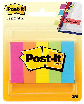 Post-it Page Markers 12 X 1-34 Inches Assorted Bright Colors Pad Of 100