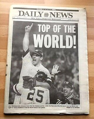 ORIGINAL 1996 Newspaper Yankees World Series Win New York Daily News Oct 27 1996 for sale  Dumont
