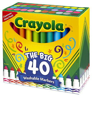 Crayola Ultra-Clean Washable Markers, Broad Line, Assorted Colors, Set of 40