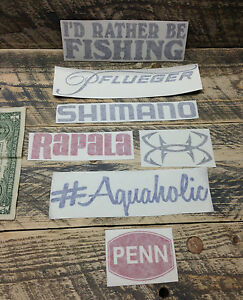 7 Fishing decals vinyl STICKER lure reel rod hook tackle box tug canoe boat fly