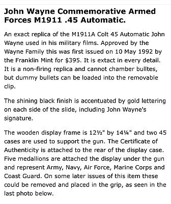 John Wayne Armed Forces Replica Commemorative 45 Automatic Collectible