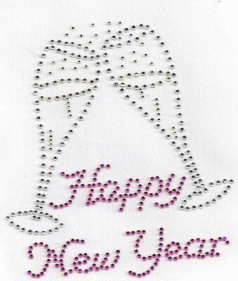 Happy New Year Toast Glass Rhinestone Bling Hot Fix  Iron On Transfer Design (Happy New Year Glasses)