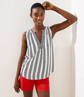 Ann Taylor Loft Striped Mixed Media Split Neck Shell Top Blouse  NWT $49.50    S