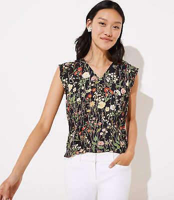 Bluse Cap (LOFT Floral Flutter Cap Sleeve Shell Black New)
