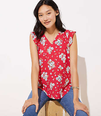 Bluse Cap (LOFT Floral Flutter Cap Sleeve Shell Rich Red Velvet New)