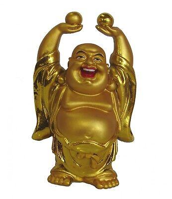Chinese Golden Money Laughing Buddha Statue ()