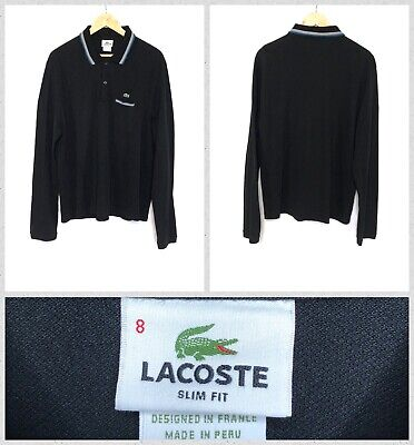 Lacoste Men's Black Long Sleeve Pocket Front Pique Cotton Polo Shirt Size 8 Slim