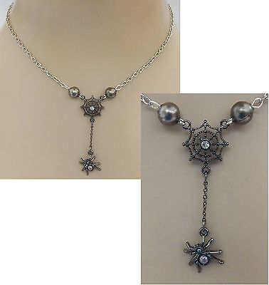 Black Spider & Web Pendant Necklace Jewelry Handmade NEW Chain Silver Fashion