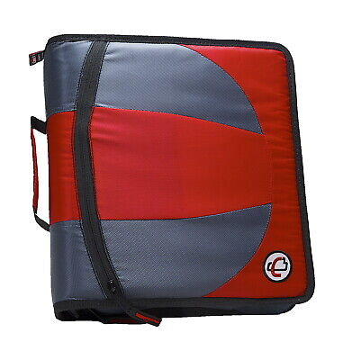 Case-it Dual Ring Zipper Binder D-ring 1-12 Inches Red