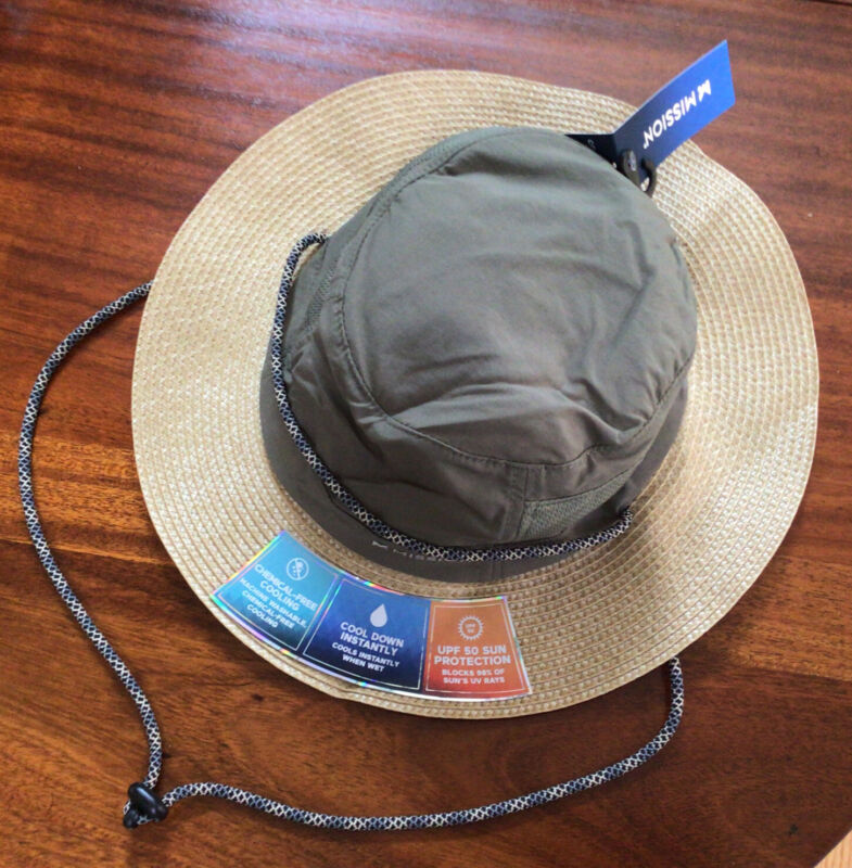 """NEW MISSION Unisex  Cooling Sun Hat- UPF 50-2.5"""" Wide Brim-Cools Wet-Straw/Olive"""