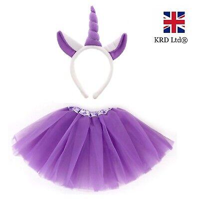 PURPLE UNICORN TUTU COSTUME Kids Teens Halloween Dash Pony Fancy Skirt Dress UK ()