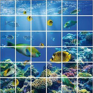 Stickers carrelage mural faience d co cuisine ou salle de bain poissons r f 850 - Stickers pour faience cuisine ...