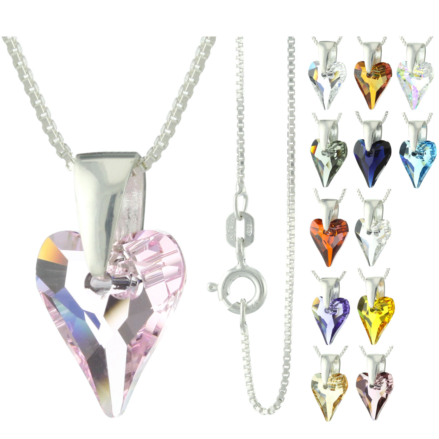 925 Sterling Silver Faceted Wild Heart Pink Sapphire Crystal Pendant Necklace