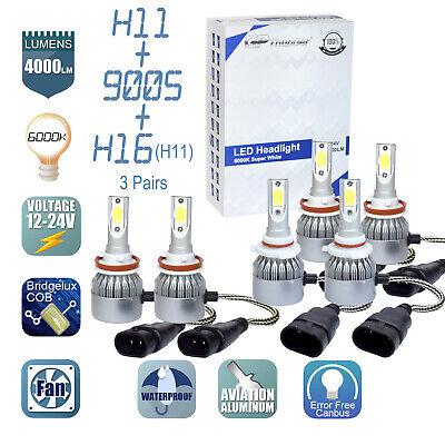 6x Combo H11 9005 H11 LED Headlight Conversion Kit High Low Beam Fog Light 6000K Combo Light Set