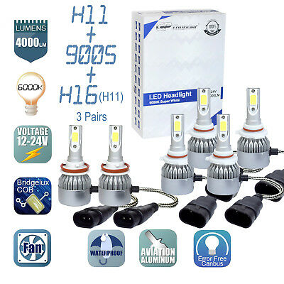 6x Combo H11 9005 H11 LED Headlight Conversion Kit High Low Beam Fog Light 6000K