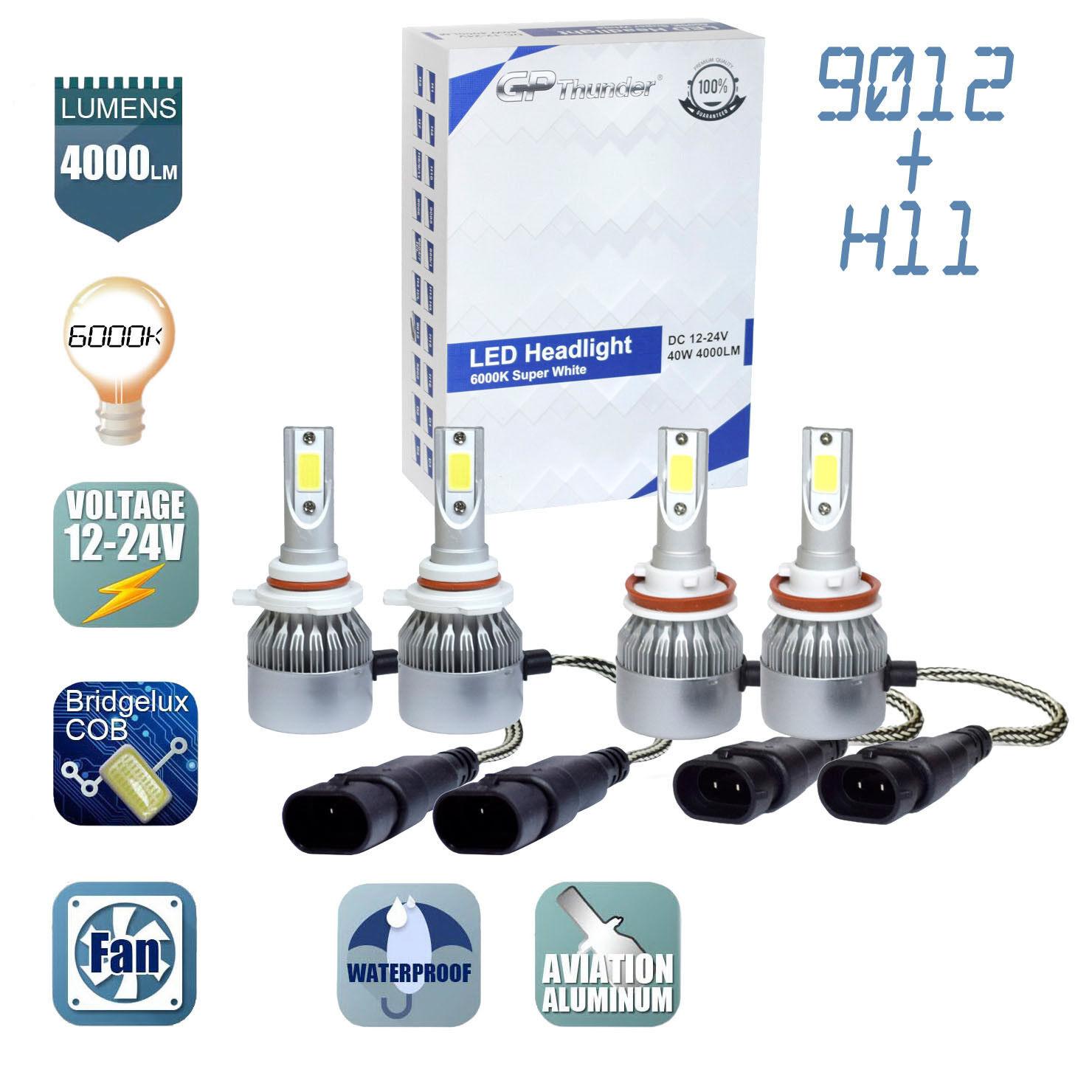 H11 Fog Light Bulbs New GP THUNDER Combo 9012 LED Headlights