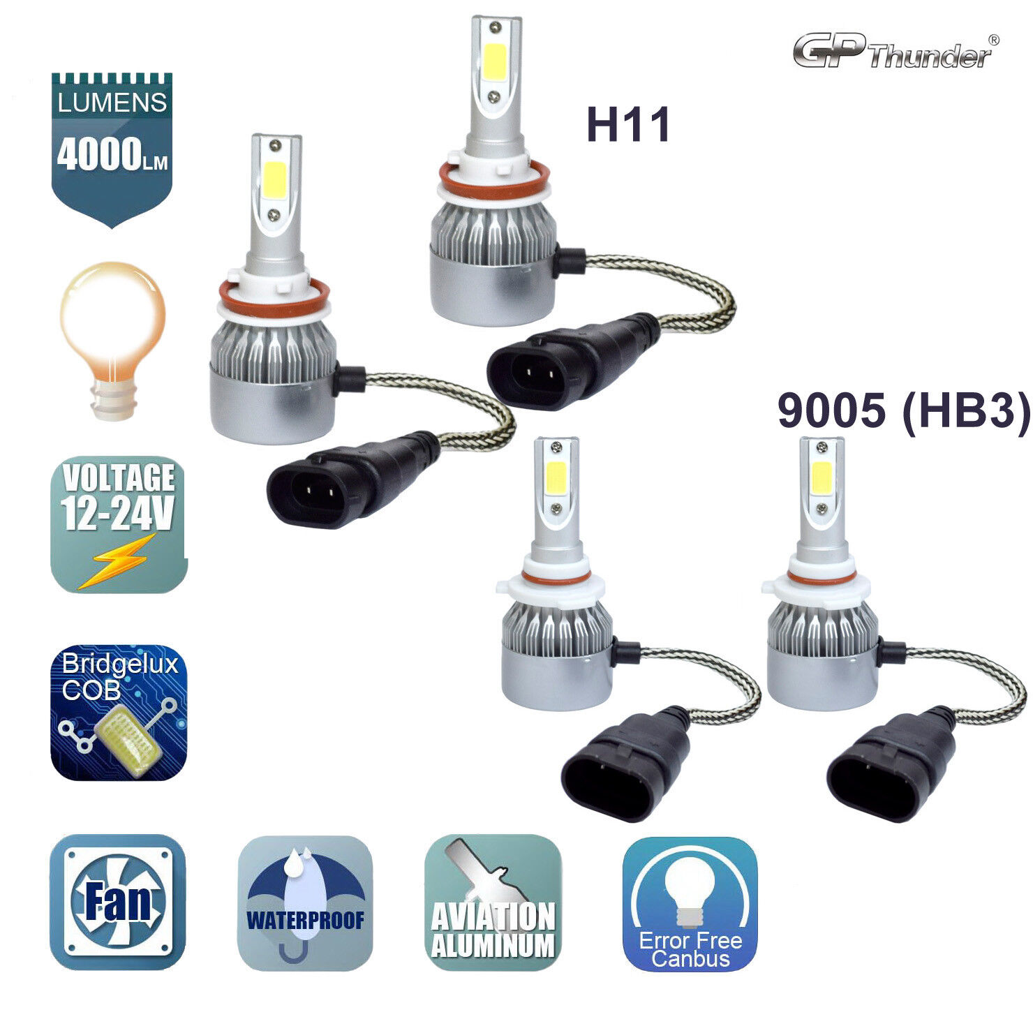 H11 Low Beam LED Headlight Bulb Kit For 2007-2017 Toyota Camry High Beam 9005