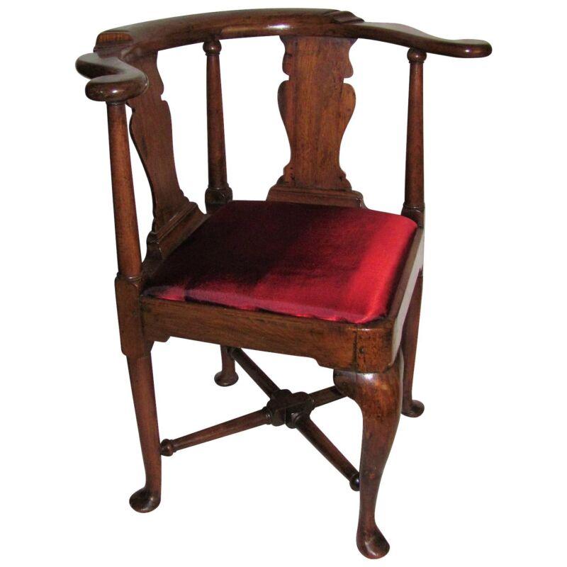 Antique English or American Queen Anne Walnut Corner Chair Circa 1730