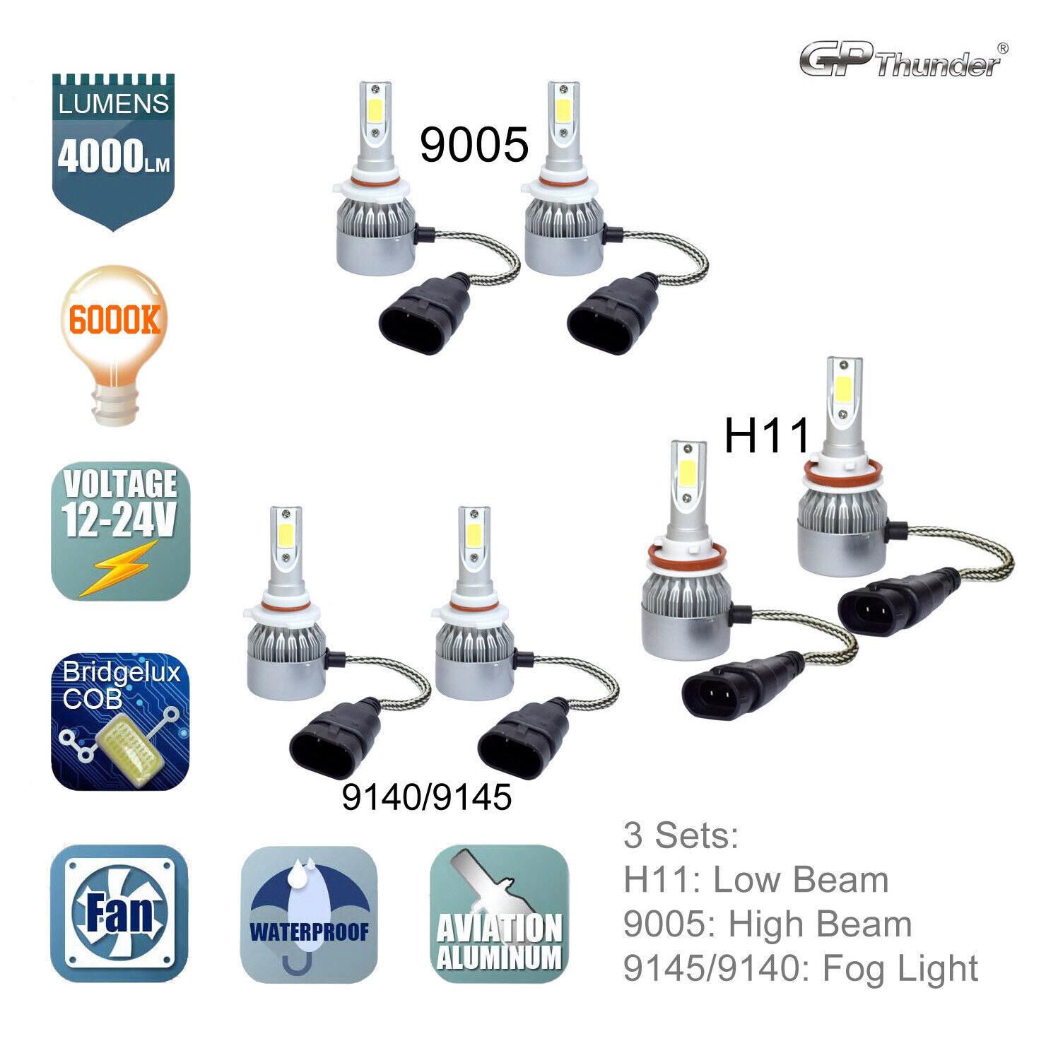 H11 9005 LED Headlight Hi Low Beam+Fog Light 9145 9140 for 2015-2017 Ford F-150