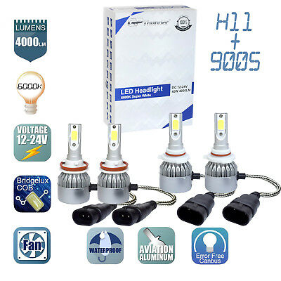 (2Pair 9005 + H11 Combo LED Headlight Low High Beams Light Kit Bulbs 6000K)