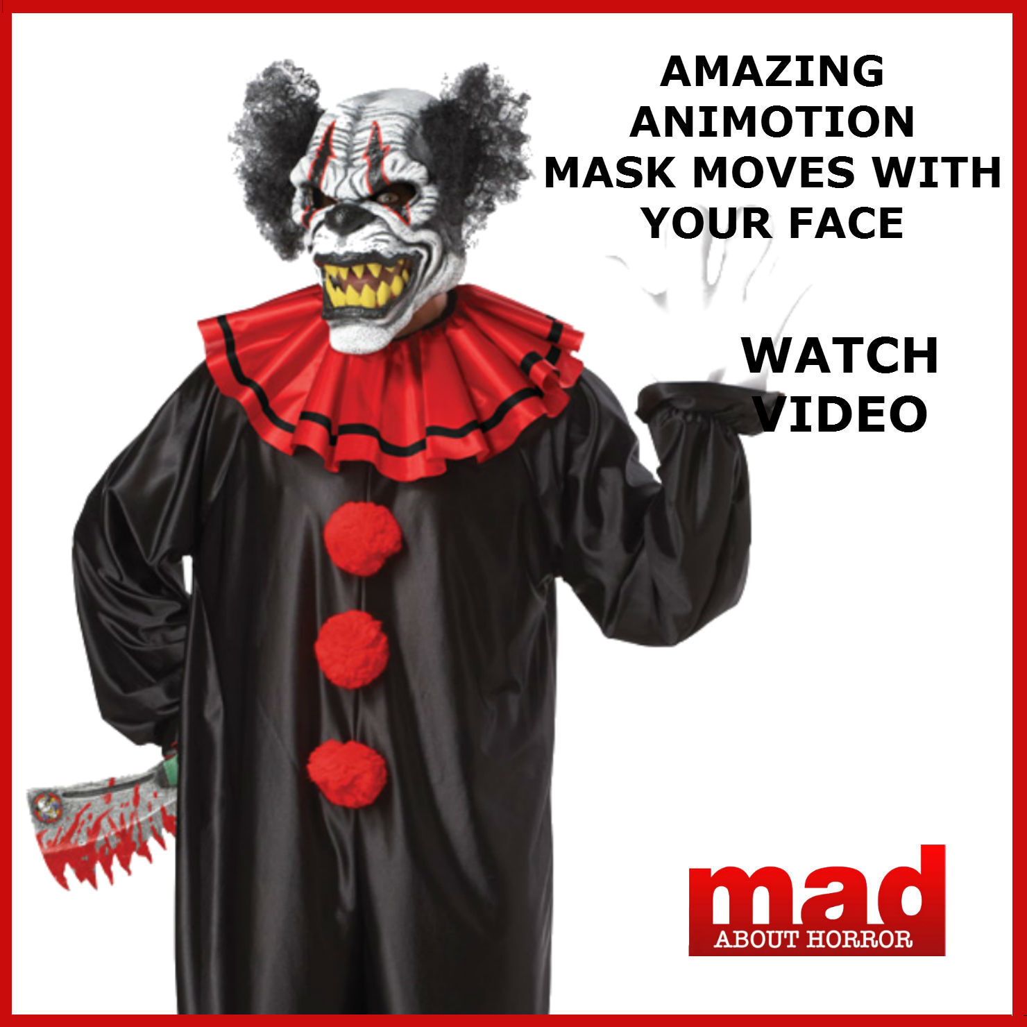 LAST LAUGH Evil Clown Costume+Animotion Moving Mask-Halloween ...